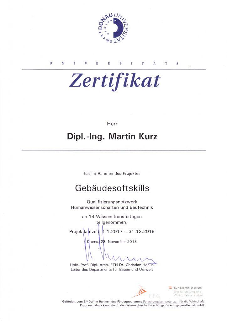 Zertifikat GebäudeSoftSkills DI Martin Kurz